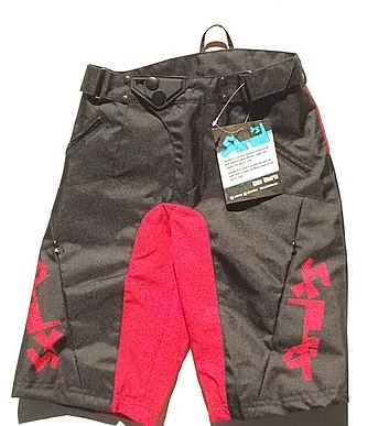 ShredXS Enduro Kids Cycling Shorts Red & Black