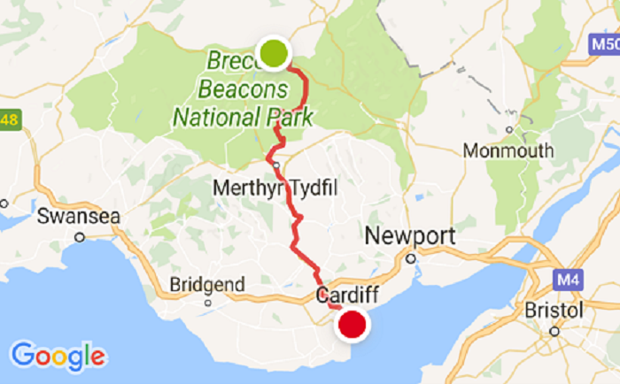 The Taff Trail route