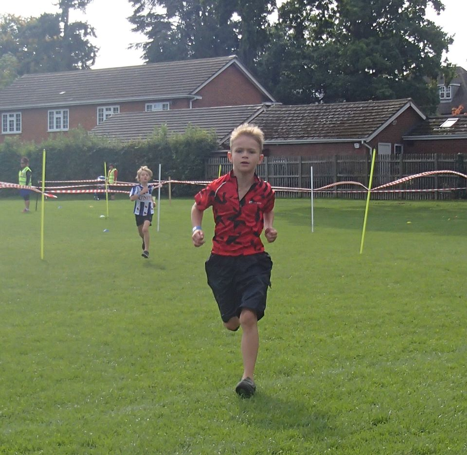 lewis running at the mini triathlon event