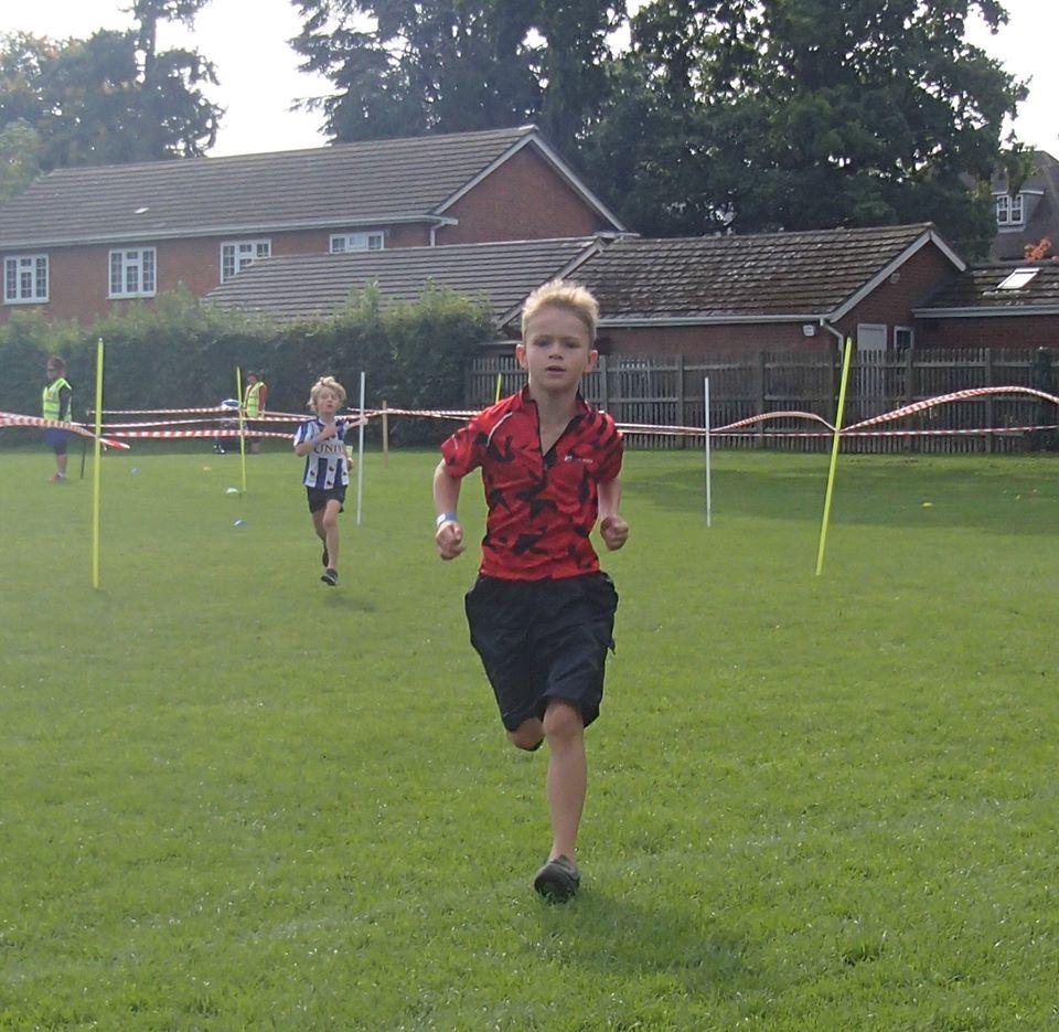 lewis running at the mini triathlon event