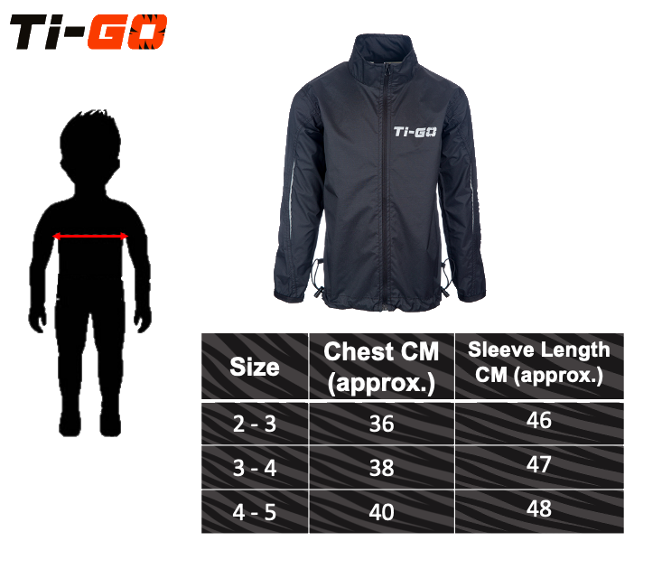 Ti-Go Bikes Totes Dry Waterproof Jacket Size Guide