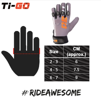 Ti=Go Kids #RideAwesome Pro Cycling Glove Sizing
