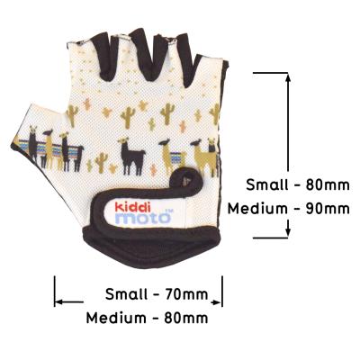 Kiddimoto Kids Cycling Gloves - Llama Sizing Info