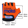 Kiddimoto Kids Cycling Gloves - Orange Sizing Info