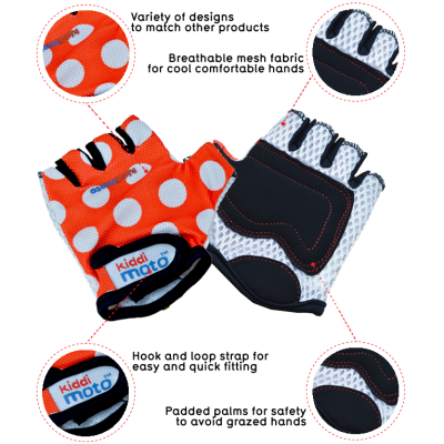 Kiddimoto Kids Cycling Gloves - Red Dotty Tech Info