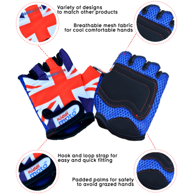 Kiddimoto Kids Cycling Gloves - Union Jack Tech Info