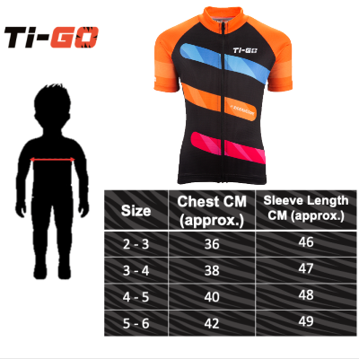 Ti-Go Bikes Short Sleeved Kids Cycling Jersey Size Guide